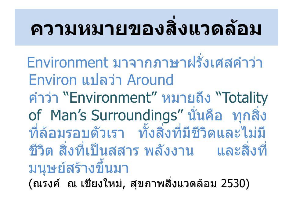 ความหมายของสิ่งแวดล้อม Environment มาจากภาษาฝรั่งเศสคำว่า Environ แปลว่า Around คำว่า Environment หมายถึง Totality of Man's Surroundings นั่นคือ ทุกสิ่ง ที่ล้อมรอบตัวเรา ทั้งสิ่งที่มีชีวิตและไม่มี ชีวิต สิ่งที่เป็นสสาร พลังงาน และสิ่งที่ มนุษย์สร้างขึ้นมา (ณรงค์ ณ เชียงใหม่, สุขภาพสิ่งแวดล้อม 2530)