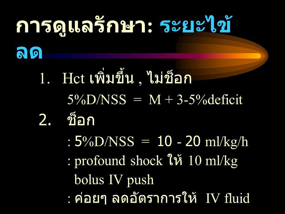 การดูแลรักษา : ระยะไข้ ลด 1. Hct เพิ่มขึ้น, ไม่ช็อก 5%D/NSS = M + 3-5%deficit 2. ช็อก : 5%D/NSS = 10 - 20 ml/kg/h : profound shock ให้ 10 ml/kg bolus
