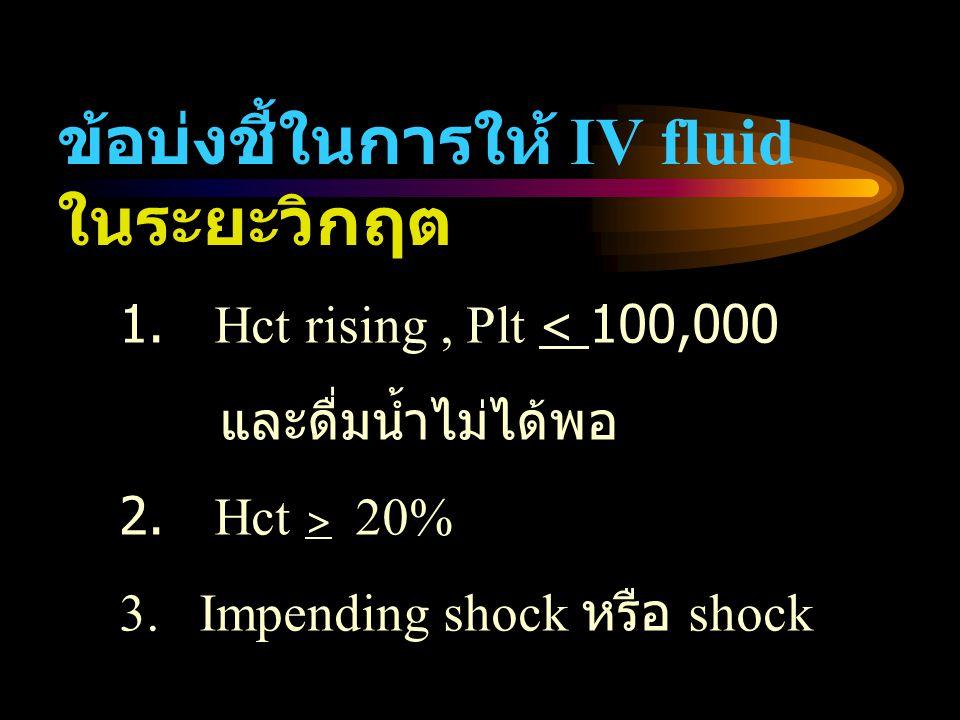 ข้อบ่งชี้ในการให้ IV fluid ในระยะวิกฤต 1. Hct rising, Plt < 100,000 และดื่มน้ำไม่ได้พอ 2. Hct > 20% 3. Impending shock หรือ shock