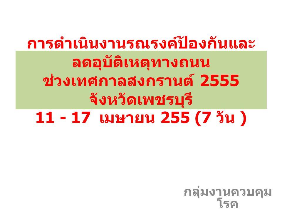 การดำเนินงานรณรงค์ป้องกันและ ลดอุบัติเหตุทางถนน ช่วงเทศกาลสงกรานต์ 2555 จังหวัดเพชรบุรี 11 - 17 เมษายน 255 (7 วัน ) กลุ่มงานควบคุม โรค