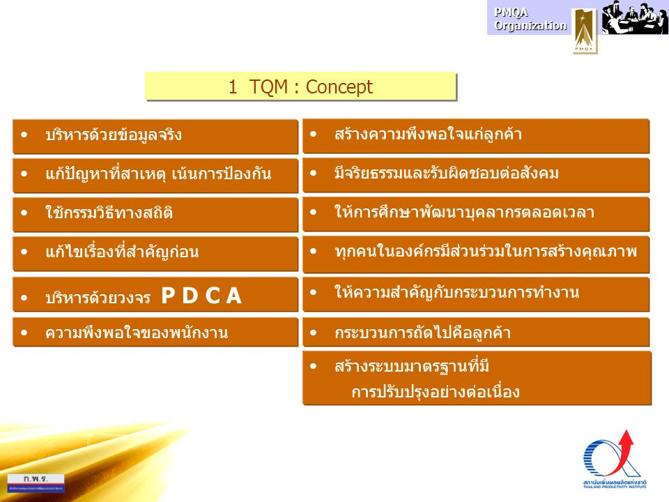 PMQA Organization Stakeholder Satisfaction Goals / Strategies 1 Concepts2 Vehicles 3 Techniques Motivation Approach Intrinsic Technology General Education/Political Stability TQM : Framework 1 Dr.