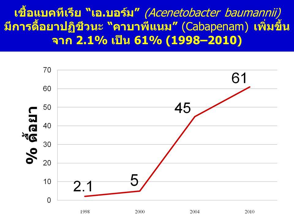 """เชื้อแบคทีเรีย """"เอ.บอร์ม"""" (Acenetobacter baumannii) มีการดื้อยาปฏิชีวนะ """"คาบาพีแนม"""" (Cabapenam) เพิ่มขึ้น จาก 2.1% เป็น 61% (1998–2010)"""