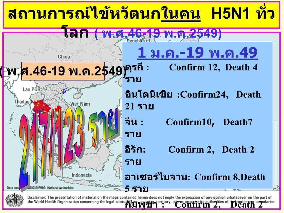 สถานการณ์ไข้หวัดนกในคน H5N1 ทั่ว โลก ( พ. ศ.46-19 พ. ค.2549) 1 ม. ค.-19 พ. ค.49 ตุรกี : Confirm 12, Death 4 ราย อินโดนิเซีย :Confirm24, Death 21 ราย จ