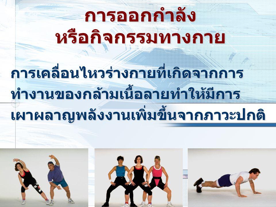 ปริมาณ การออกกำลังกายขึ้นอยู่กับ ระยะเวลาระยะเวลา ความหนัก/ความแรงความหนัก/ความแรง ความบ่อยความบ่อย น้ำหนักตัวน้ำหนักตัว ถ้าปริมาณเท่ากัน : กิจกรรมปานกลางใช้ถ้าปริมาณเท่ากัน : กิจกรรมปานกลางใช้ เวลานาน เวลานาน : กิจกรรมหนักใช้เวลาน้อย : กิจกรรมหนักใช้เวลาน้อย