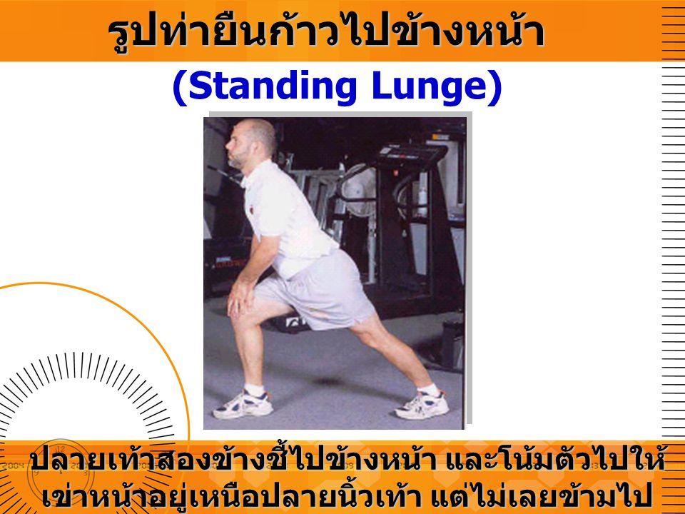 รูปท่ายืนก้าวไปข้างหน้า (Standing Lunge) ปลายเท้าสองข้างชี้ไปข้างหน้า และโน้มตัวไปให้ เข่าหน้าอยู่เหนือปลายนิ้วเท้า แต่ไม่เลยข้ามไป