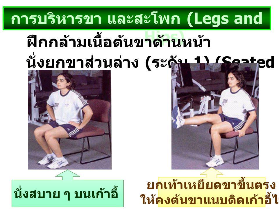 การบริหารขา และสะโพก (Legs and Hips) นั่งยกขาส่วนล่าง ( ระดับ 1) (Seated Lower – Leg Lift) ฝึกกล้ามเนื้อต้นขาด้านหน้า นั่งสบาย ๆ บนเก้าอี้ ยกเท้าเหยีย