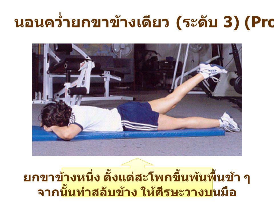 นอนคว่ำยกขาข้างเดียว ( ระดับ 3) (Prone Single – Leg Lift) ยกขาข้างหนึ่ง ตั้งแต่สะโพกขึ้นพ้นพื้นช้า ๆ จากนั้นทำสลับข้าง ให้ศีรษะวางบนมือ