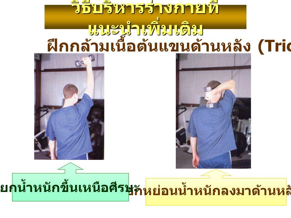 ฝึกกล้ามเนื้อต้นแขนด้านหลัง (Triceps Press) งอศอกหย่อนน้ำหนักลงมาด้านหลังศีรษะ วิธีบริหารร่างกายที่ แนะนำเพิ่มเติม ยกน้ำหนักขึ้นเหนือศีรษะ