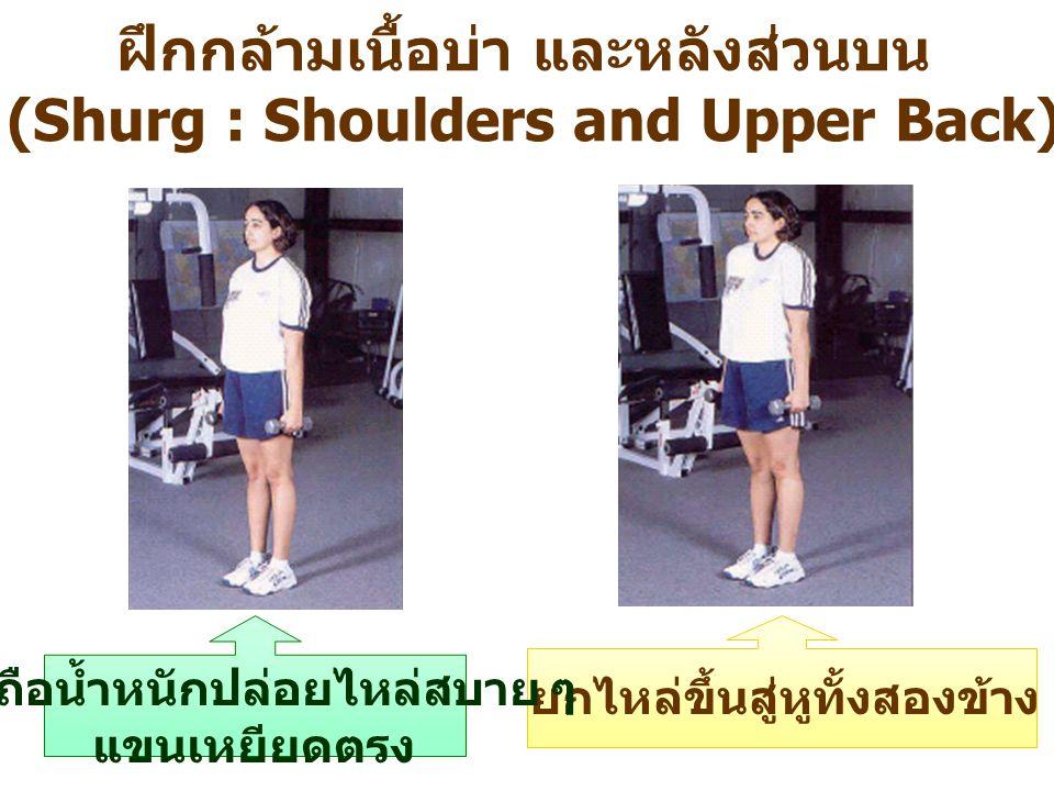 ฝึกกล้ามเนื้อบ่า และหลังส่วนบน (Shurg : Shoulders and Upper Back) ยกไหล่ขึ้นสู่หูทั้งสองข้าง มือถือน้ำหนักปล่อยไหล่สบาย ๆ แขนเหยียดตรง
