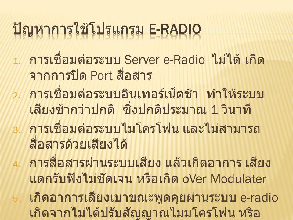 1. การเชื่อมต่อระบบ Server e-Radio ไม่ได้ เกิด จากการปิด Port สื่อสาร 2. การเชื่อมต่อระบบอินเทอร์เน็ตช้า ทำให้ระบบ เสียงช้ากว่าปกติ ซึ่งปกติประมาณ 1 ว