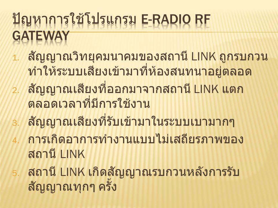 1. สัญญาณวิทยุคมนาคมของสถานี LINK ถูกรบกวน ทำให้ระบบเสียงเข้ามาที่ห้องสนทนาอยู่ตลอด 2. สัญญาณเสียงที่ออกมาจากสถานี LINK แตก ตลอดเวลาที่มีการใช้งาน 3.