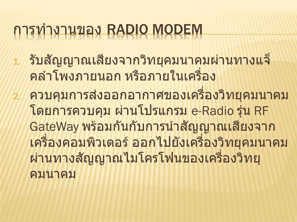 1. รับสัญญาณเสียงจากวิทยุคมนาคมผ่านทางแจ็ คลำโพงภายนอก หรือภายในเครื่อง 2. ควบคุมการส่งออกอากาศของเครื่องวิทยุคมนาคม โดยการควบคุม ผ่านโปรแกรม e-Radio