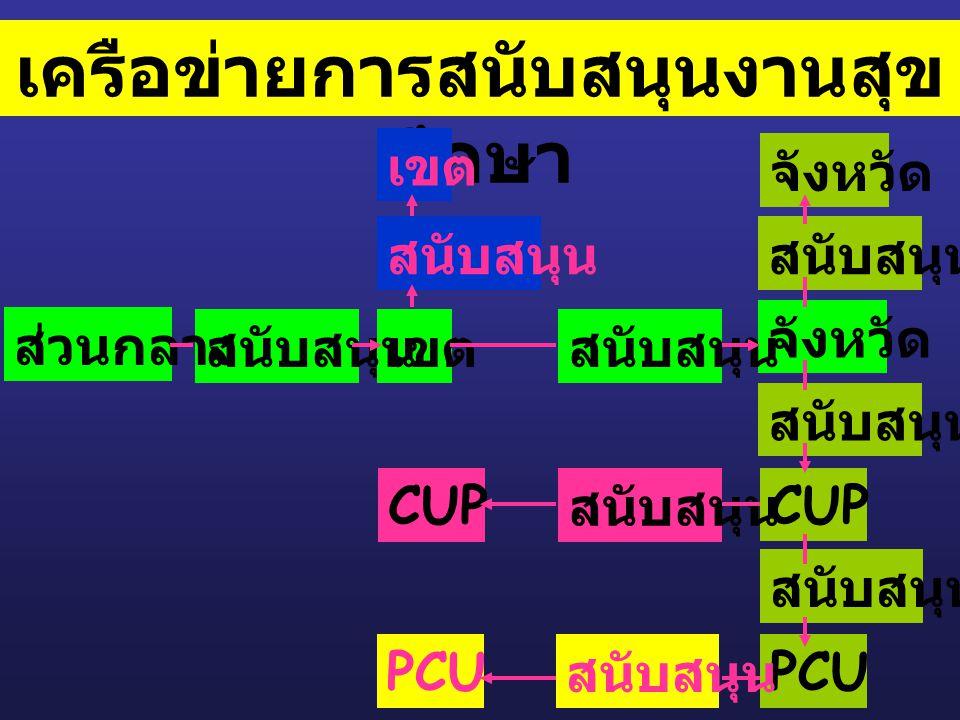 เครือข่ายการสนับสนุนงานสุข ศึกษา สนับสนุน จังหวัด สนับสนุน จังหวัด CUP สนับสนุน PCU เขต สนับสนุน CUP เขต PCU สนับสนุน ส่วนกลาง