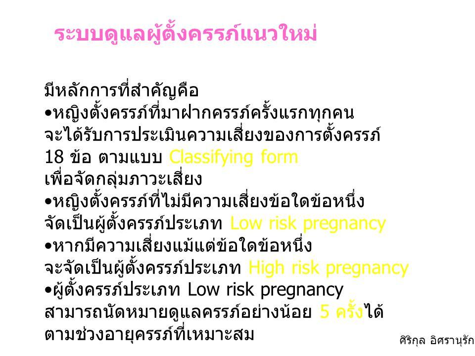 ระบบดูแลผู้ตั้งครรภ์แนวใหม่ มีหลักการที่สำคัญคือ หญิงตั้งครรภ์ที่มาฝากครรภ์ครั้งแรกทุกคน จะได้รับการประเมินความเสี่ยงของการตั้งครรภ์ 18 ข้อ ตามแบบ Cla