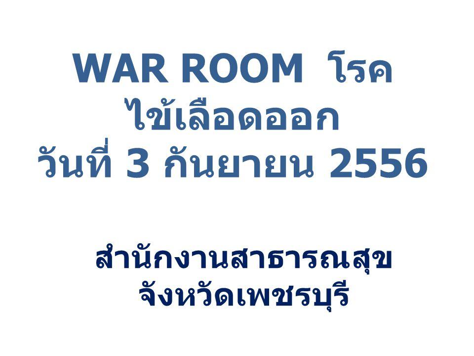 WAR ROOM โรค ไข้เลือดออก วันที่ 3 กันยายน 2556 สำนักงานสาธารณสุข จังหวัดเพชรบุรี