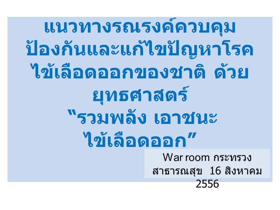 """แนวทางรณรงค์ควบคุม ป้องกันและแก้ไขปัญหาโรค ไข้เลือดออกของชาติ ด้วย ยุทธศาสตร์ """" รวมพลัง เอาชนะ ไข้เลือดออก """" War room กระทรวง สาธารณสุข 16 สิงหาคม 255"""