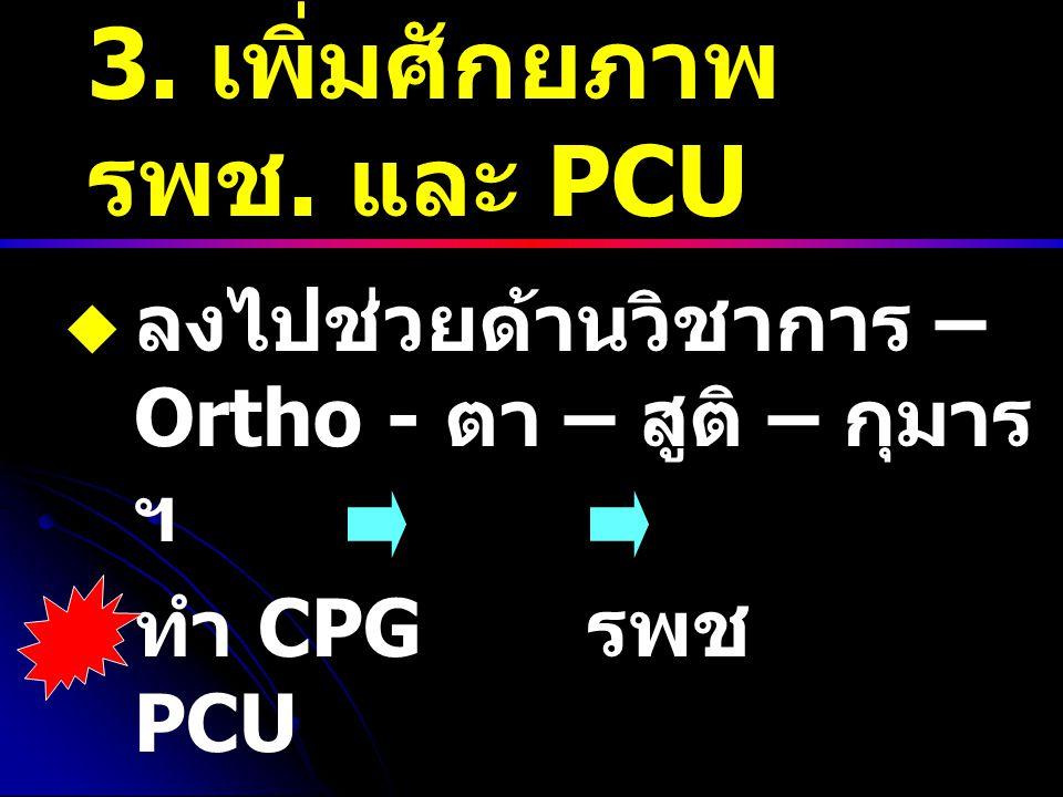 3. เพิ่มศักยภาพ รพช. และ PCU  ลงไปช่วยด้านวิชาการ – Ortho - ตา – สูติ – กุมาร ฯ  ทำ CPG รพช PCU  จัดหาแพทย์ลงไปประจำ PCU