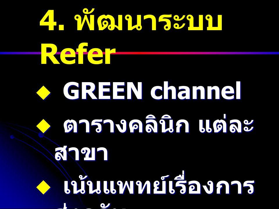 4. พัฒนาระบบ Refer  GREEN channel  ตารางคลินิก แต่ละ สาขา  เน้นแพทย์เรื่องการ ส่งกลับ
