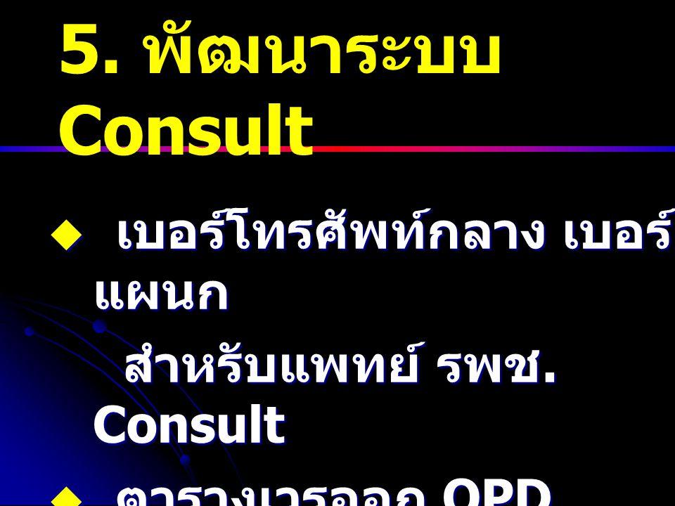 5. พัฒนาระบบ Consult  เบอร์โทรศัพท์กลาง เบอร์ แผนก สำหรับแพทย์ รพช. Consult สำหรับแพทย์ รพช. Consult  ตารางเวรออก OPD