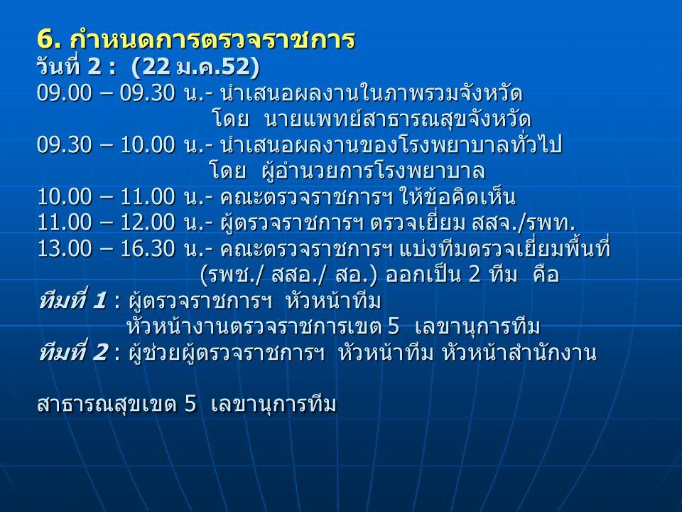 6. กำหนดการตรวจราชการ วันที่ 2 : (22 ม.ค.52) 09.00 – 09.30 น.- นำเสนอผลงานในภาพรวมจังหวัด โดย นายแพทย์สาธารณสุขจังหวัด 09.30 – 10.00 น.- นำเสนอผลงานขอ