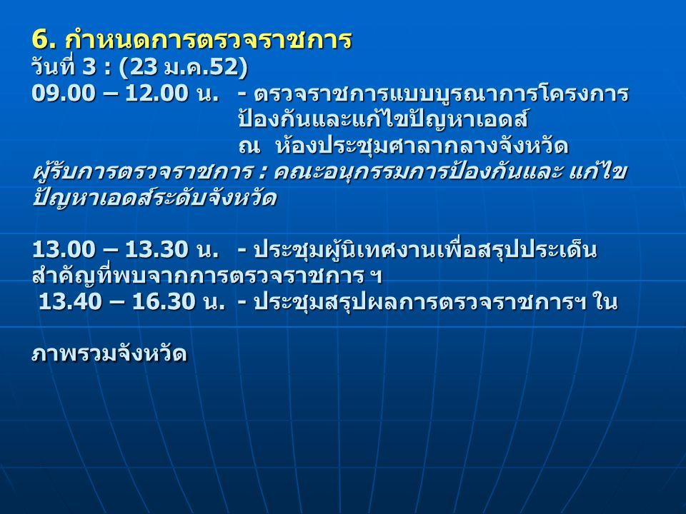 6. กำหนดการตรวจราชการ วันที่ 3 : (23 ม.ค.52) 09.00 – 12.00 น.- ตรวจราชการแบบบูรณาการโครงการ ป้องกันและแก้ไขปัญหาเอดส์ ณ ห้องประชุมศาลากลางจังหวัด ผู้ร