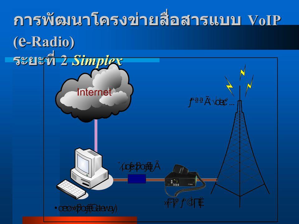 การพัฒนาโครงข่ายสื่อสารแบบ VoIP ( e -Radio) ระยะที่ 2 Semi-Duplex