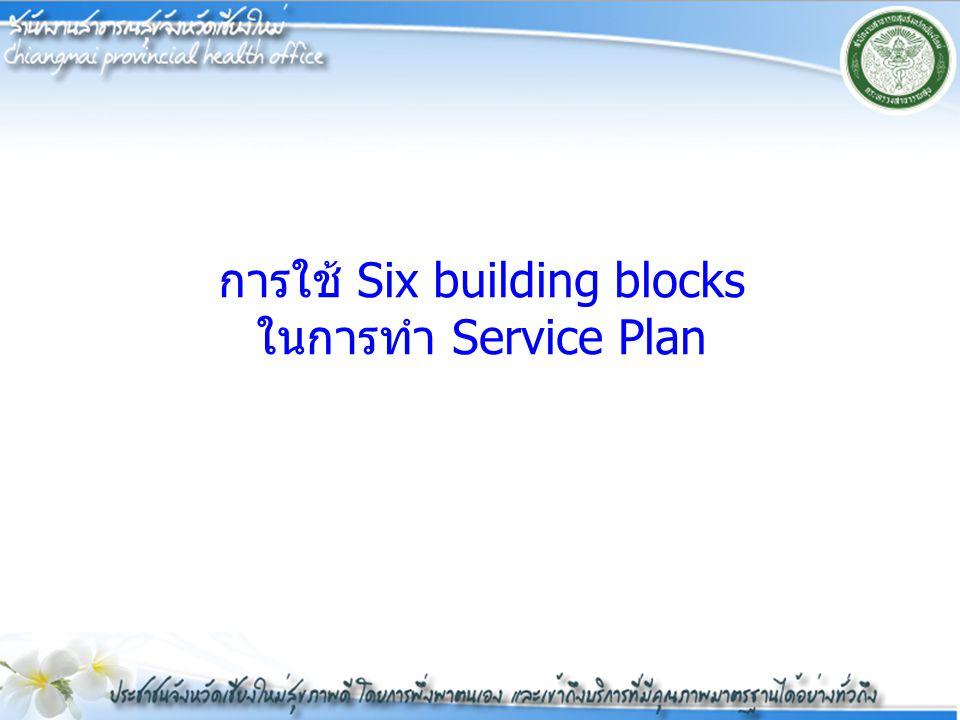การใช้ Six building blocks ในการทำ Service Plan