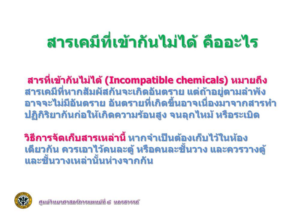 สารเคมีที่เข้ากันไม่ได้ คืออะไร สารที่เข้ากันไม่ได้ (Incompatible chemicals) หมายถึง สารเคมีที่หากสัมผัสกันจะเกิดอันตราย แต่ถ้าอยู่ตามลำพัง อาจจะไม่มี