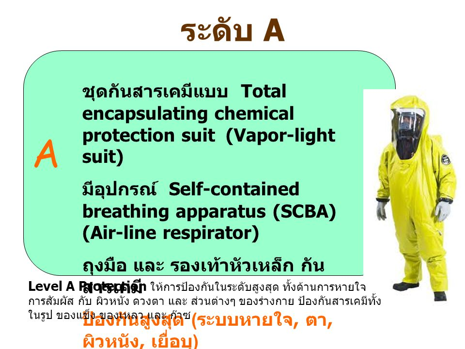 ระดับ A A ชุดกันสารเคมีแบบ Total encapsulating chemical protection suit (Vapor-light suit) มีอุปกรณ์ Self-contained breathing apparatus (SCBA) (Air-li