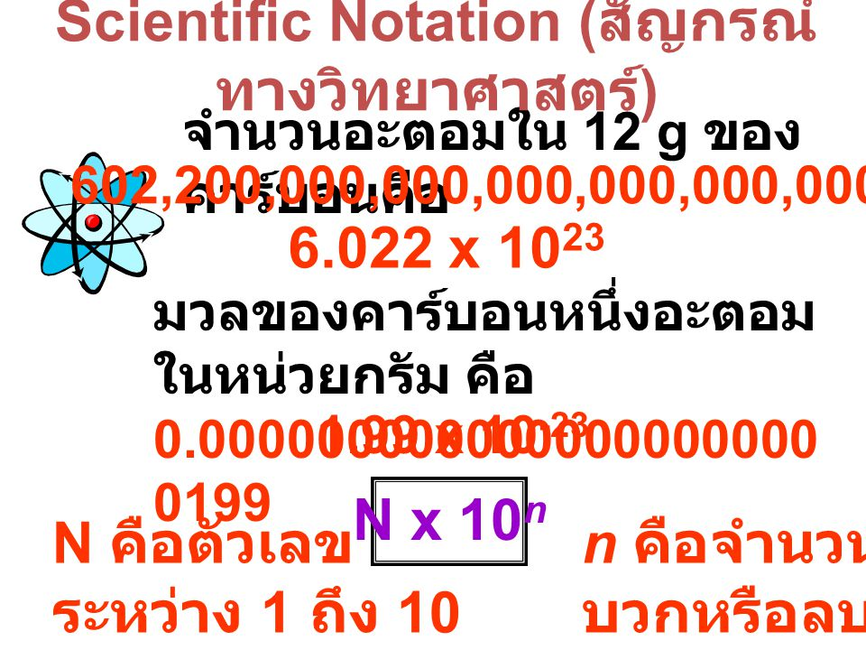 จำนวนอะตอมใน 12 g ของ คาร์บอนคือ 602,200,000,000,000,000,000,000 6.022 x 10 23 มวลของคาร์บอนหนึ่งอะตอม ในหน่วยกรัม คือ 0.000000000000000000000 0199 1.