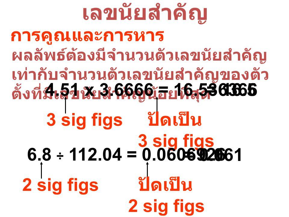 เลขนัยสำคัญ การคูณและการหาร ผลลัพธ์ต้องมีจำนวนตัวเลขนัยสำคัญ เท่ากับจำนวนตัวเลขนัยสำคัญของตัว ตั้งที่มีเลขนัยสำคัญน้อยที่สุด 4.51 x 3.6666 = 16.536366