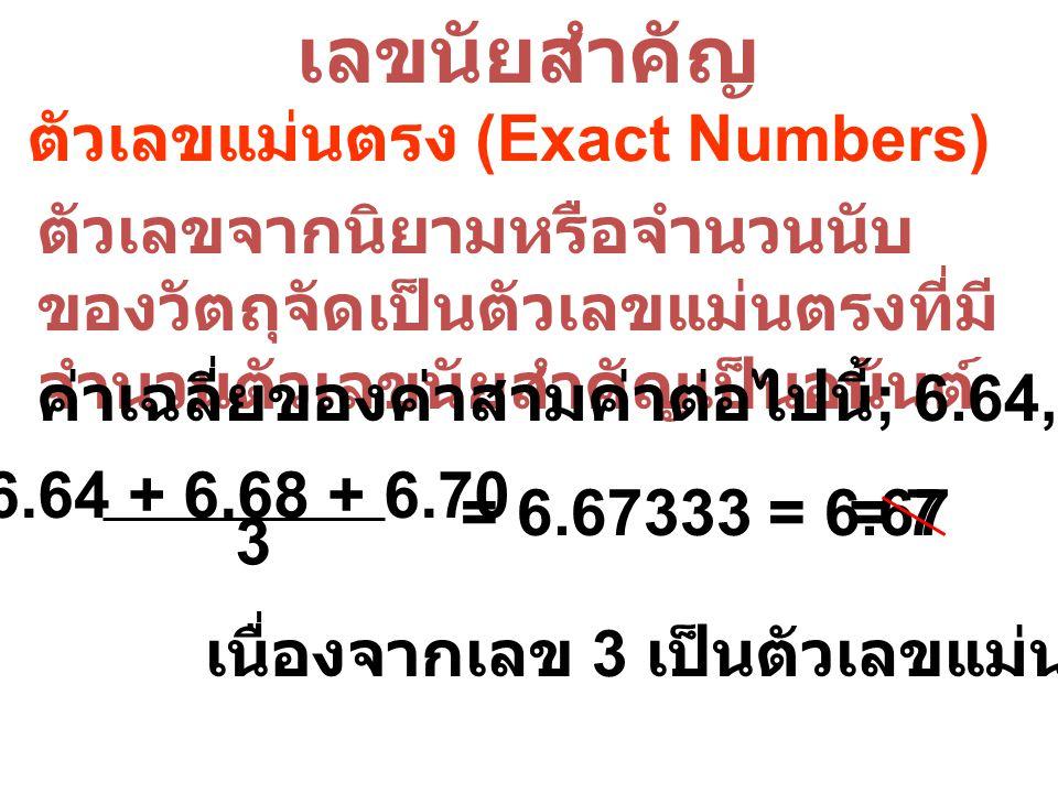 เลขนัยสำคัญ ตัวเลขแม่นตรง (Exact Numbers) ตัวเลขจากนิยามหรือจำนวนนับ ของวัตถุจัดเป็นตัวเลขแม่นตรงที่มี จำนวนตัวเลขนัยสำคัญเป็นอนันต์ ค่าเฉลี่ยของค่าสา