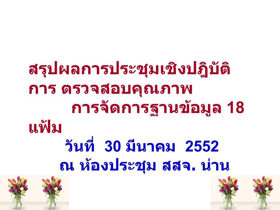 สรุปผลการประชุมเชิงปฎิบัติ การ ตรวจสอบคุณภาพ การจัดการฐานข้อมูล 18 แฟ้ม วันที่ 30 มีนาคม 2552 ณ ห้องประชุม สสจ.