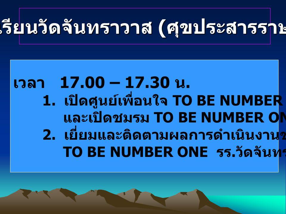 โรงเรียนวัดจันทราวาส ( ศุขประสารราษฎร์ ) เวลา 17.00 – 17.30 น. 1. เปิดศูนย์เพื่อนใจ TO BE NUMBER ONE และเปิดชมรม TO BE NUMBER ONE รร. วัดจันทราวาส 2.