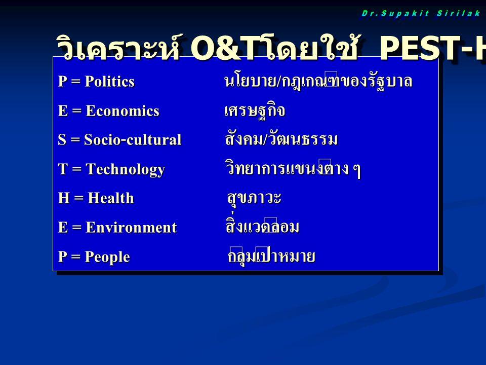 วิเคราะห์ O&T โดยใช้ PEST-HEP Analysis P = Politics นโยบาย/กฎเกณฑ์ของรัฐบาล E = Economics เศรษฐกิจ S = Socio-cultural สังคม/วัฒนธรรม T = Technology วิ