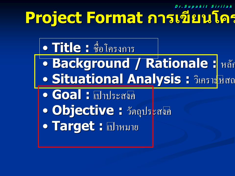 Project Format การเขียนโครงการ Title : ชื่อโครงการ Title : ชื่อโครงการ Background / Rationale : หลักการและเหตุผล Background / Rationale : หลักการและเหตุผล Situational Analysis : วิเคราะห์สถานการณ์ Situational Analysis : วิเคราะห์สถานการณ์ Goal : เป้าประสงค์ Goal : เป้าประสงค์ Objective : วัตถุประสงค์ Objective : วัตถุประสงค์ Target : เป้าหมาย Target : เป้าหมาย