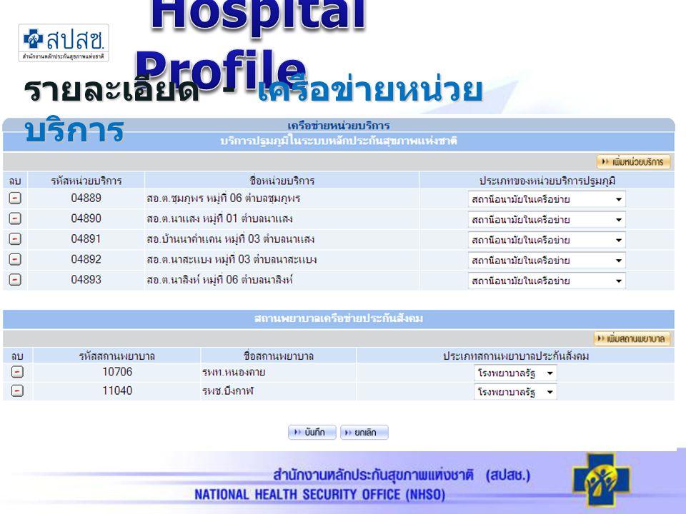 รายละเอียด - เครือข่ายหน่วย บริการ