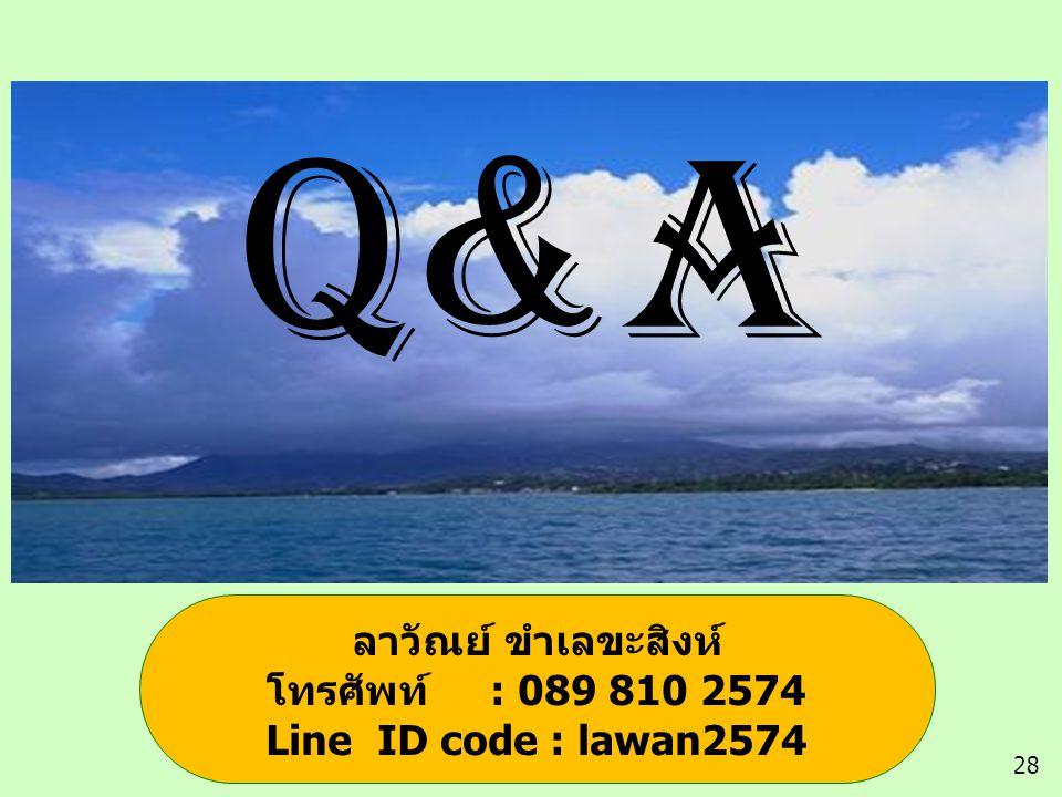 Q&A 28 ลาวัณย์ ขำเลขะสิงห์ โทรศัพท์ : 089 810 2574 Line ID code : lawan2574