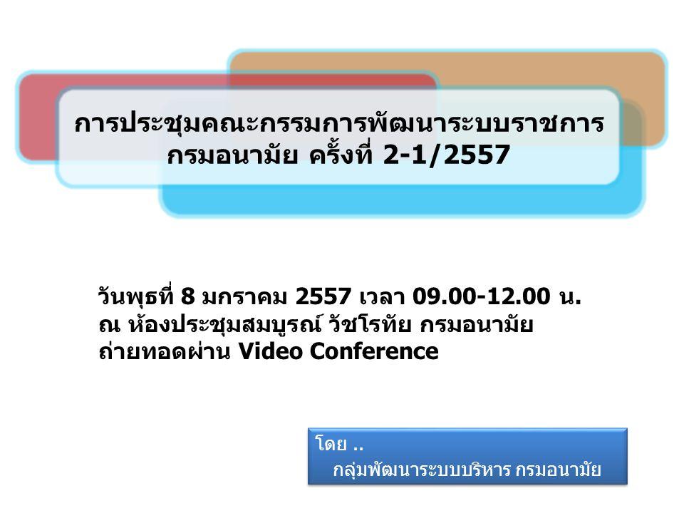 วัตถุประสงค์การประชุม ติดตามผลการดำเนินงาน ตามมติที่ประชุมคณะกรรมการพัฒนาระบบราชการ กรมอนามัย ครั้งที่ 1/2556 เมื่อวันที่ 26 พฤศจิกายน 2556 พิจารณาการกำหนดตัวชี้วัดตามคำรับรองการปฏิบัติ ราชการ ปีงบประมาณ พ.ศ.2557 2 วาระที่ 1