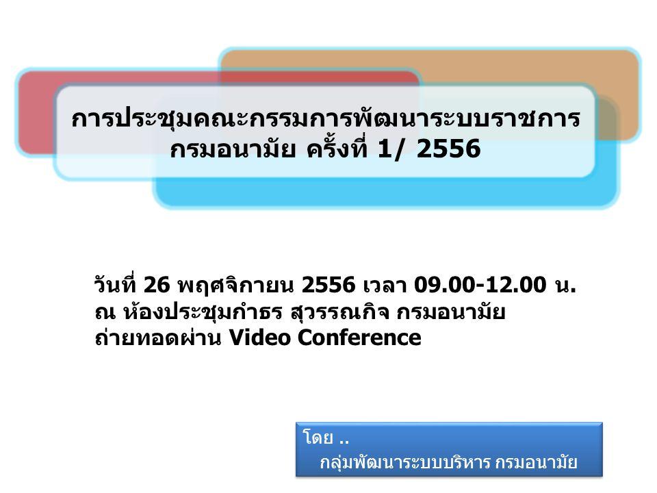 1 การประชุมคณะกรรมการพัฒนาระบบราชการ กรมอนามัย ครั้งที่ 1/ 2556 โดย.. กลุ่มพัฒนาระบบบริหาร กรมอนามัย โดย.. กลุ่มพัฒนาระบบบริหาร กรมอนามัย วันที่ 26 พฤ