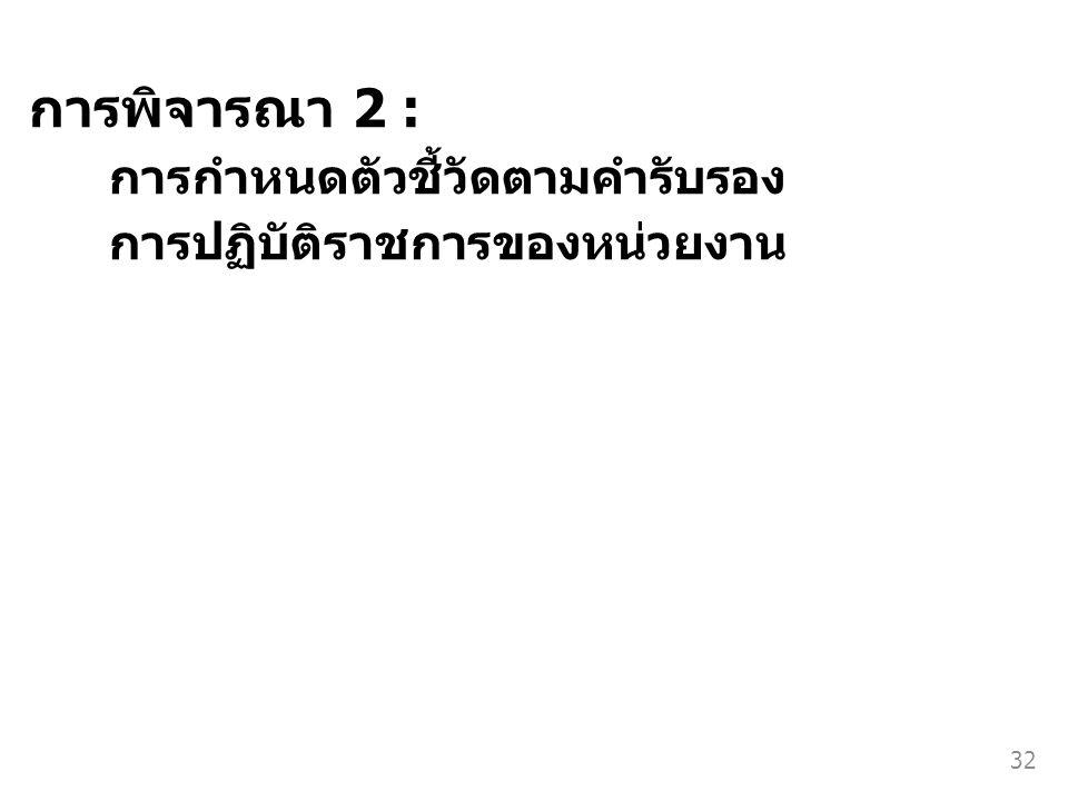 การพิจารณา 2 : การกำหนดตัวชี้วัดตามคำรับรอง การปฏิบัติราชการของหน่วยงาน 32