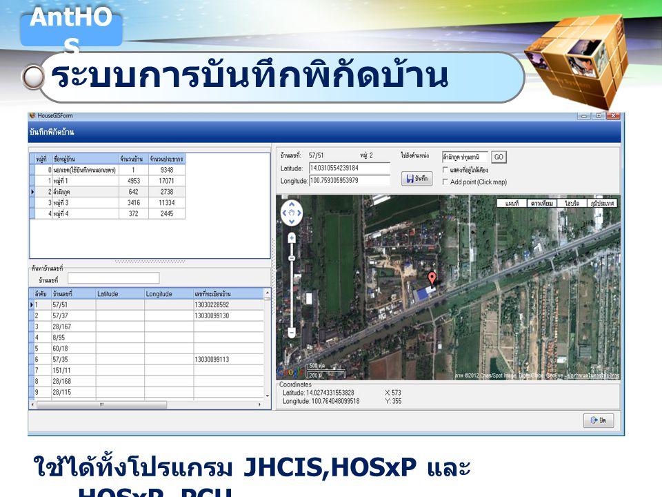 LOGO ระบบการบันทึกพิกัดบ้าน AntHO S ใช้ได้ทั้งโปรแกรม JHCIS,HOSxP และ HOSxP_PCU