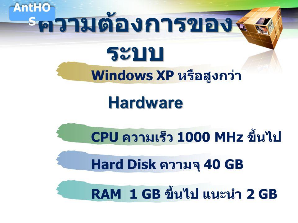 LOGO ความต้องการของ ระบบ Windows XP หรือสูงกว่า CPU ความเร็ว 1000 MHz ขึ้นไป Hard Disk ความจุ 40 GBRAM 1 GB ขึ้นไป แนะนำ 2 GB AntHO S Hardware