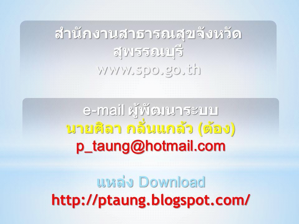 สำนักงานสาธารณสุขจังหวัด สุพรรณบุรี www.spo.go.th e-mail ผู้พัฒนาระบบ นายศิลา กลั่นแกล้ว ( ต้อง ) p_taung@hotmail.com แหล่ง Download http://ptaung.blo