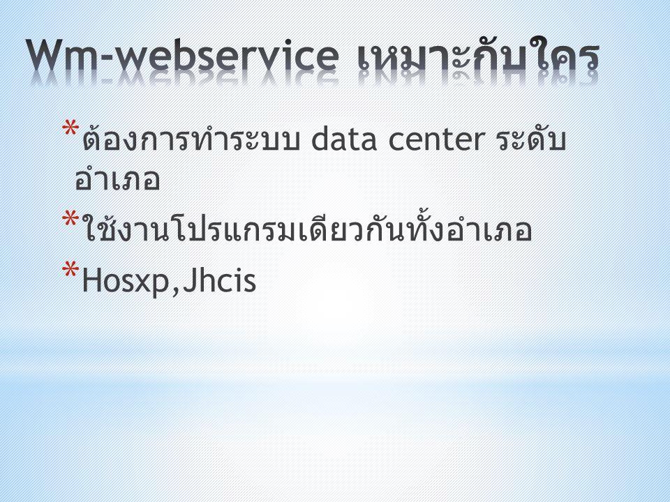 * ต้องการทำระบบ data center ระดับ อำเภอ * ใช้งานโปรแกรมเดียวกันทั้งอำเภอ * Hosxp,Jhcis