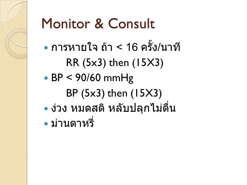 Monitor & Consult การหายใจ ถ้า < 16 ครั้ง / นาที RR (5x3) then (15X3) BP < 90/60 mmHg BP (5x3) then (15X3) ง่วง หมดสติ หลับปลุกไม่ตื่น ม่านตาหรี่