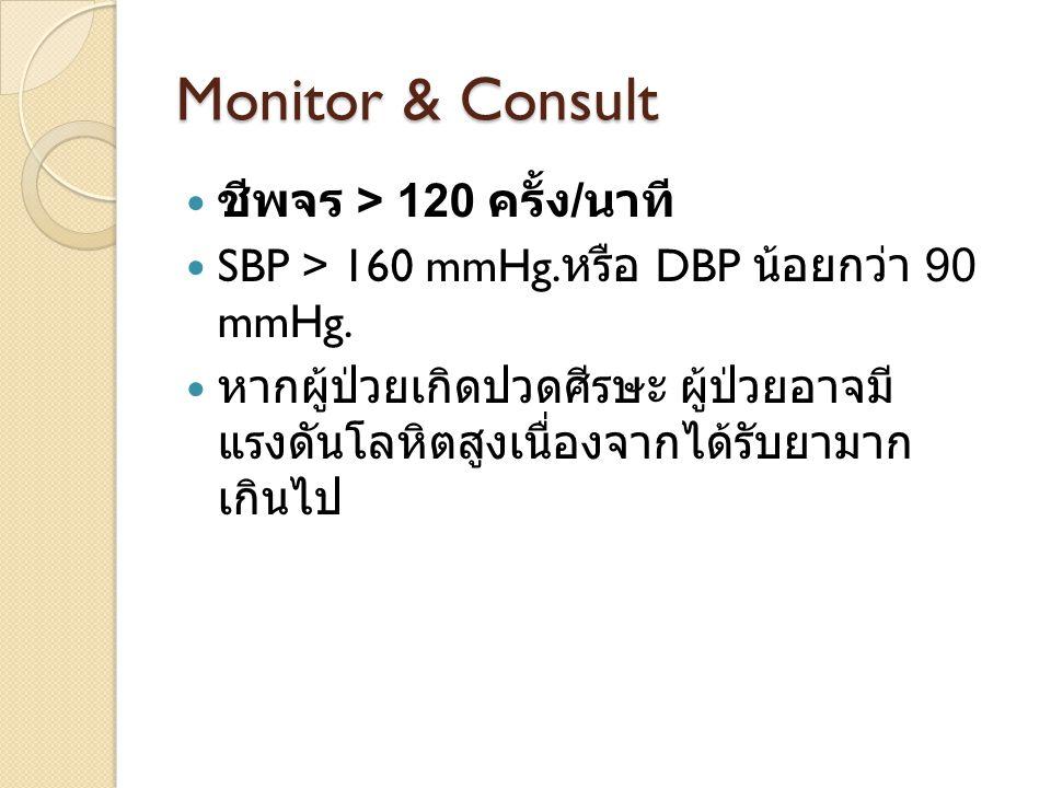 Monitor & Consult ชีพจร > 120 ครั้ง / นาที SBP > 160 mmHg. หรือ DBP น้อยกว่า 90 mmHg. หากผู้ป่วยเกิดปวดศีรษะ ผู้ป่วยอาจมี แรงดันโลหิตสูงเนื่องจากได้รั