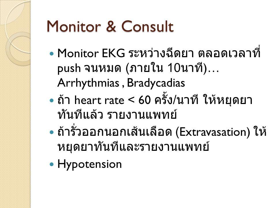 Monitor & Consult Monitor EKG ระหว่างฉีดยา ตลอดเวลาที่ push จนหมด ( ภายใน 10 นาที )… Arrhythmias, Bradycadias ถ้า heart rate < 60 ครั้ง / นาที ให้หยุด