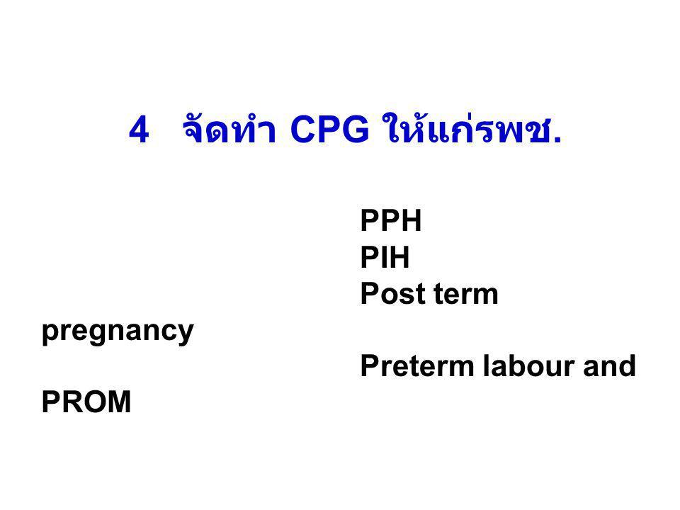 4 จัดทำ CPG ให้แก่รพช. PPH PIH Post term pregnancy Preterm labour and PROM