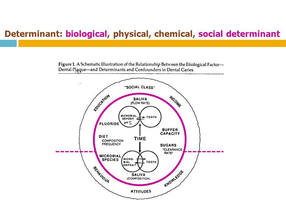Determinant: biological, physical, chemical, social determinant